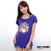 BIG TRAIN 假兩件小葵印花T-女-藍紫