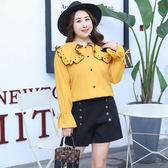 中大尺碼~優雅時尚小香風長袖襯衫(XL~4XL)