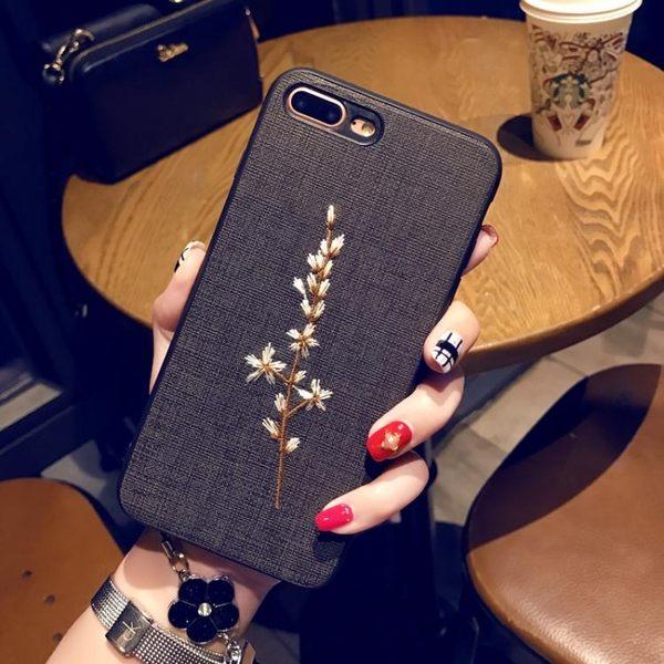 刺繡蘋果7/8plus手機殼掛繩iPhone6s保護套蘋果X個性軟殼冬天女款