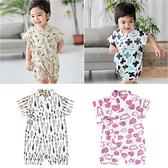 滿版印花造型包屁衣造型服 連身衣 日式浴衣 和服 滿印爬服 90049