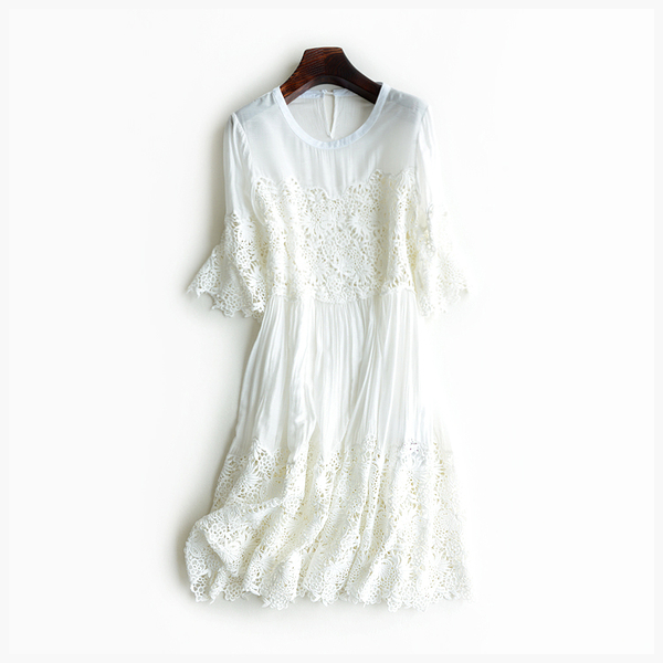 [超豐國際]W   甜美 鉤花 純色 連衣裙 吊帶 兩件套
