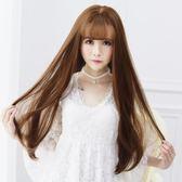 韓式長假髮韓國空氣瀏海假髮女 長捲髮大波浪逼真長髮 假髮套自然頭套