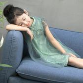 女童連衣裙洋氣公主裙子夏裝新款中大兒童網紗旗袍背心蓬蓬裙