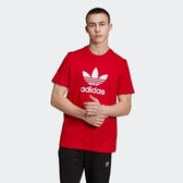 L-adidas Original TREFOIL 三葉草 男女 紅色 休閒 短袖 T恤 EJ9678