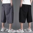 七分褲夏季短褲男加肥加大碼工裝褲男士中褲寬鬆休閒褲薄款多口袋七分 快速出貨