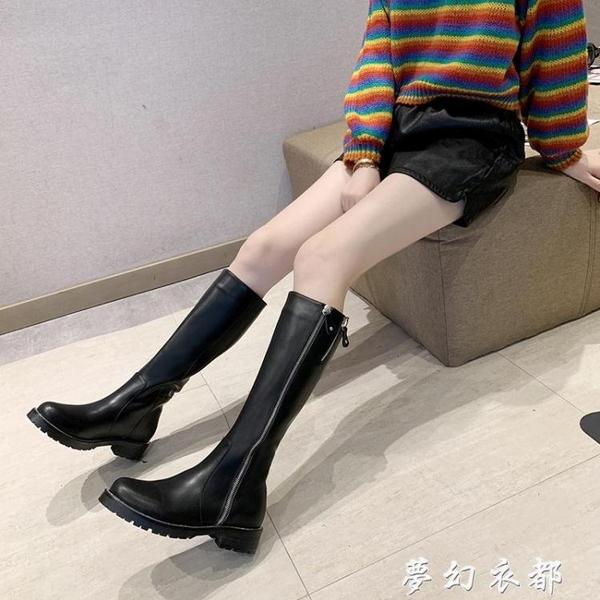 秋冬季新款百搭瘦瘦靴女皮靴高筒不膝上靴女騎士靴長筒靴女 夢幻衣都