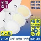 TOYAMA特亞馬 2~12W超薄LED日光感應自動調光節能崁燈 挖孔尺寸15cm 4入組 白光、黃光、【免運直出】