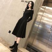 一字領洋裝復古大擺高腰赫本小黑裙長袖一字領中長版收腰蓬蓬裙內搭連身裙女
