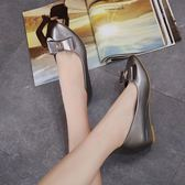 新款蝴蝶結圓頭坡跟鞋 漆皮外增高防滑鞋【多多鞋包店】z7150