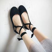 淺口平底單鞋女秋2018新款韓版復古奶奶鞋方頭芭蕾舞鞋綁帶豆豆鞋