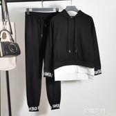 秋季時尚帥氣bf休閒運動學生寬鬆嘻哈衣服女酷潮 兩件套裝『小淇嚴選』