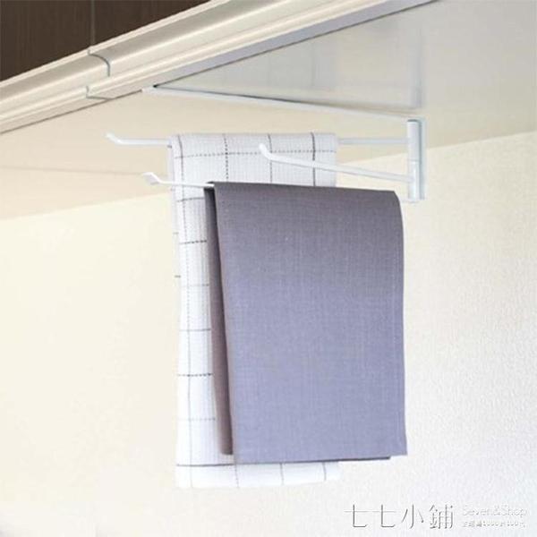 北歐廚房免打孔毛巾架 家用創意掛鉤旋轉抹布架毛巾桿夾