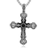《QBOX 》FASHION 飾品【CHE030】精緻個性歐美復古皇冠十字架鑄造鈦鋼墬子項鍊/掛飾