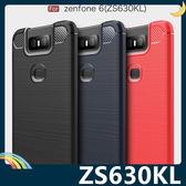 ASUS ZenFone 6 ZS630KL 戰神碳纖保護套 軟殼 金屬髮絲紋 軟硬組合 防摔全包款 矽膠套 手機套 手機殼