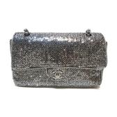 CHANEL 香奈兒 銀色亮片銀釦雙蓋肩背包 Sequins Classic Flap Bag【BRAND OFF】