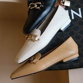 手工真皮女鞋34~39 2020新款法國舒適時尚方頭金屬扣低跟平底鞋通勤鞋  百搭休閒樂福鞋~3色