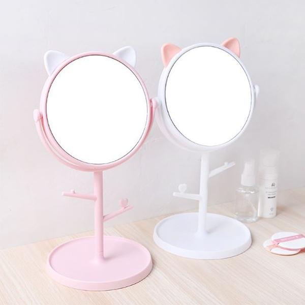 貓咪多功能梳妝鏡 桌面公主鏡 書桌創意 放大梳妝台 鏡子化妝鏡【Z90303】