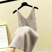 針織吊帶背心洋裝女新款春秋V領無袖打底毛衣過膝內搭長裙 錢夫人