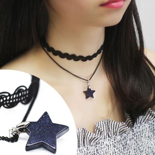 簡約雙層波浪蕾絲星星頸鍊項圈 正韓女短版鎖骨鍊項鍊 復古脖子鍊
