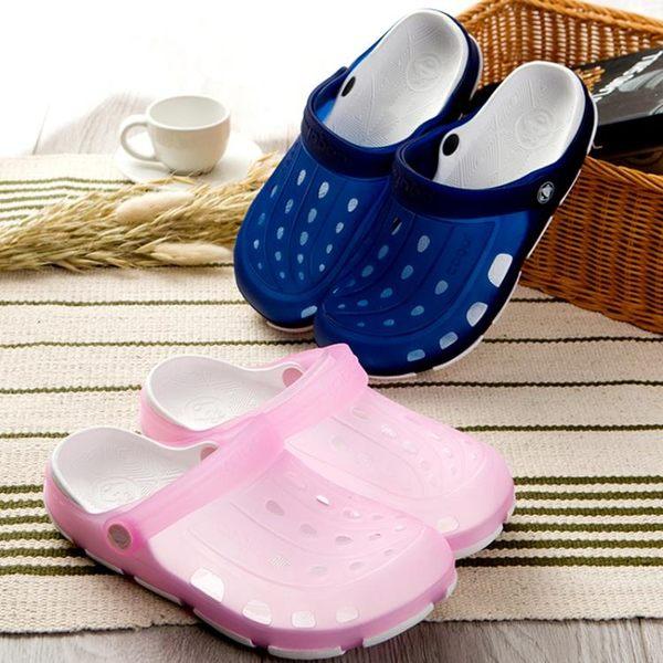 2019夏新品沙灘鞋洞洞鞋男防滑包頭軟底花園涼拖鞋情侶塑料涼鞋
