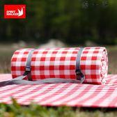 紅白格子戶外野餐墊防潮墊露營地墊加大加厚防水Y-1293