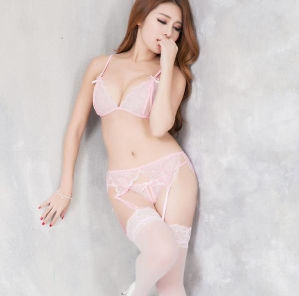 法式蕾絲情趣內衣褲開檔吊帶絲襪套裝四件組