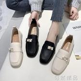 小皮鞋英倫風小皮鞋女春秋季新款粗跟方頭單鞋百搭平底中跟復古女鞋 可然精品