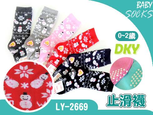 LY-2669長統寶寶襪-6雙 雪人 止滑童襪 0~2歲 台灣製