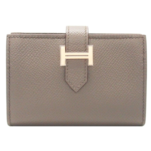 HERMES 愛馬仕 18 Etoupe 大象灰牛皮H金扣名片套 D刻 Bearn Card Holder【BRAND OFF】