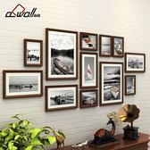 相框牆 實木照片墻裝飾 歐式相框墻相片墻 客廳相片框掛墻創意組合連體掛 igo摩可美家