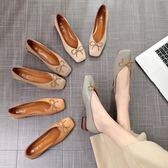 粗跟單鞋女2018新款女鞋春季復古韓版百搭方頭奶奶鞋淺口豆豆鞋子  良品鋪子