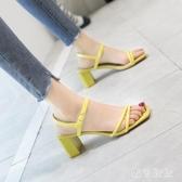 高跟露趾涼鞋女仙女風百搭時尚粗跟一字帶網紅2020新款夏季 LF2612『黑色妹妹』