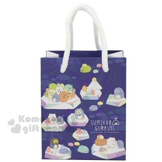 〔小禮堂〕角落生物 迷你方形手提紙袋《深藍.冰原》包裝袋.送禮紙袋.手提袋 4714551-87534