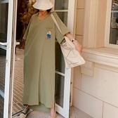 洋裝休閒長裙開叉中大尺碼L-2XL/超長款前短後長V領印花短袖連身裙景F5-5339.胖胖美依