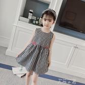 童裝女童夏裝純棉洋裝2020夏季新款洋裝韓版中大童兒童格子公主裙子 米娜小鋪