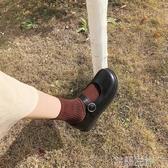 新品娃娃鞋一字扣淺口圓頭鞋韓國復古單鞋女學生學院風小皮鞋女 芊墨左岸