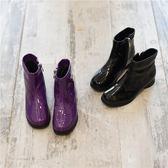2018新款女童漆皮亮片短靴 兒童方頭時裝靴加絨棉靴馬丁靴機車靴『櫻花小屋』