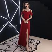 小禮服敬酒服新娘21春秋紅色吊帶長款顯瘦宴會回門訂婚晚禮服平時可穿 快速出貨