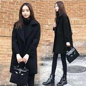 現貨黑L胖MM韓版寬松顯瘦黑色呢子大衣中長款毛呢外套女潮3F057.6015