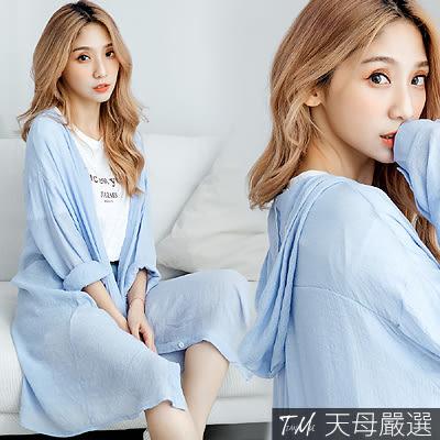 【天母嚴選】純色微透膚寬鬆連帽棉麻罩衫外套(共三色)