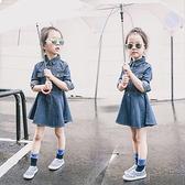 女童長袖牛仔裙 新品春秋裝正韓兒童牛仔洋裝