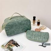 收納袋便攜化妝包旅行防水簡約洗漱包手提包【邻家小鎮】