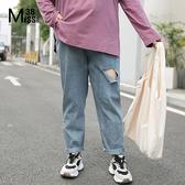 Miss38-(現貨)【A09275】大尺碼牛仔長褲 水洗藍色 潮流破洞 寬鬆休閒 鬆緊腰有口袋 直筒褲-中大尺碼