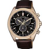 CITIZEN 星辰 光動能萬年曆計時手錶-咖啡/44mm BL5562-18E
