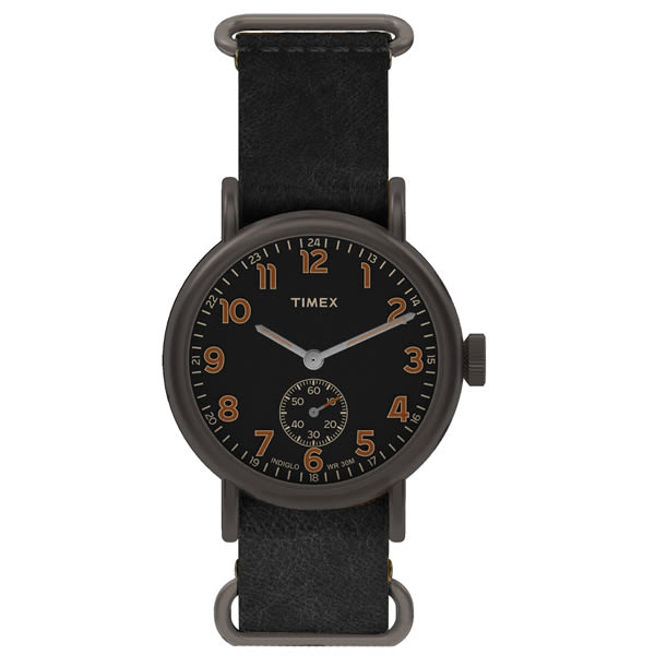 【時間道 】〔TIMEX。天美時〕簡約復古風潮六點小秒腕錶–黑面黑皮(TW2P86700/TXT2P86700)免運費