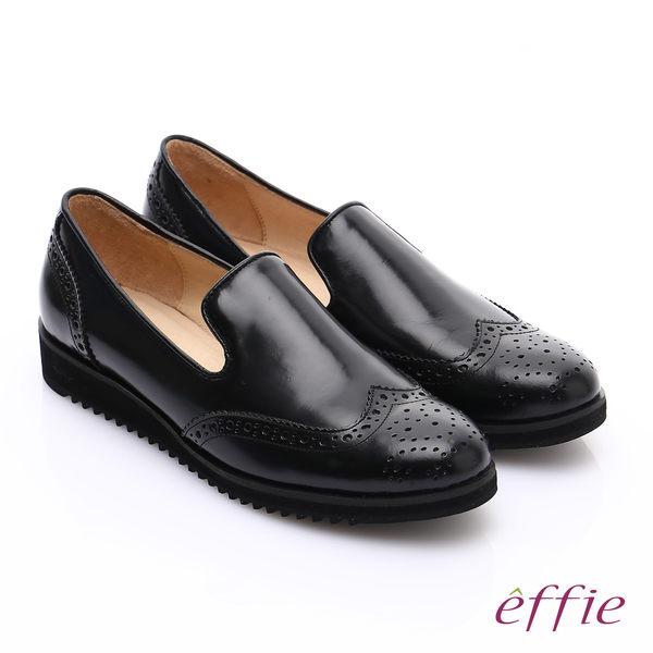 effie 都會休閒 鏡面真皮牛津雕花樂福鞋 黑色