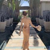 吊帶露背v領連身裙女裝性感顯瘦氣質長裙海邊度假裙【毒家貨源】