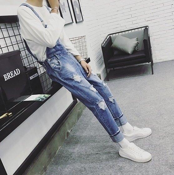 FINDSENSE品牌 吊帶褲 破壞牛仔褲 長褲 寬褲 吊帶穿搭 吊帶褲 背帶褲