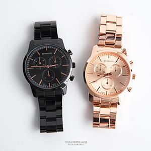 男錶推薦 仿三眼玫金刻度鐵帶腕錶 中性手錶 情侶對錶【NE1965】單支