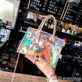 斜挎包鐳射包斜挎小包沙灘包手提鉑金包新款女包包透明水晶果凍包女 99免運
